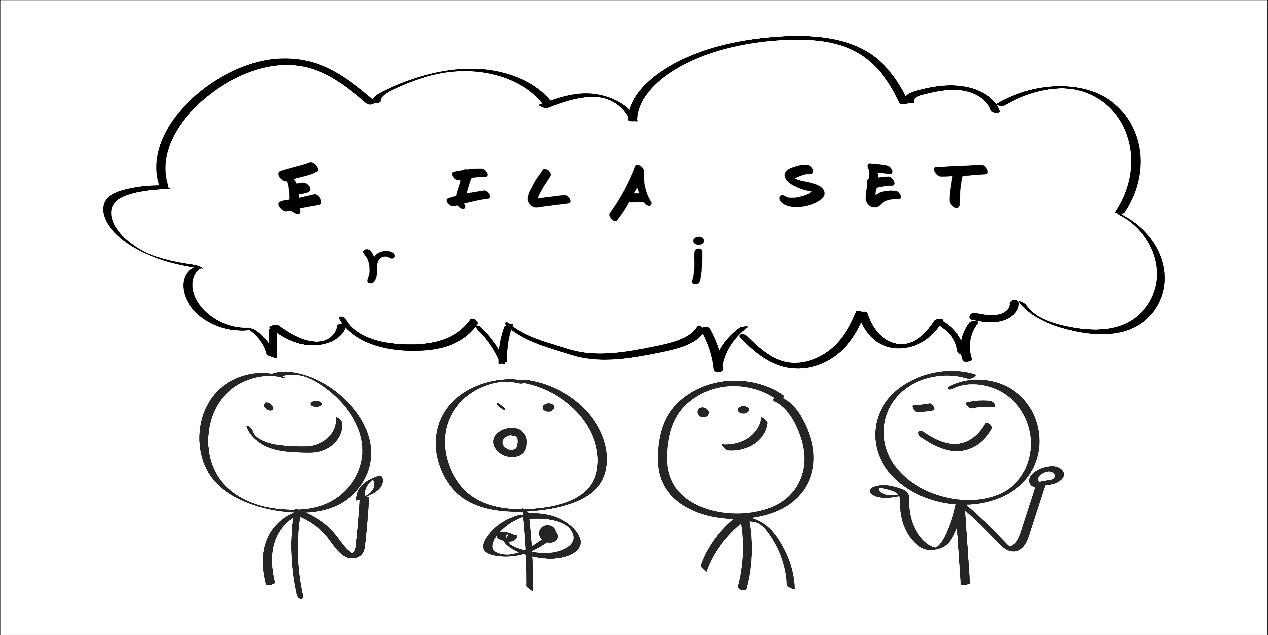 Kuvituskuva. Piirroskuvassa neljä hymyilevää hahmoa ja puhekuplassa sana erilaiset.