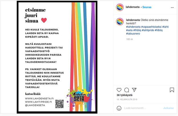 lahdenseta-Instagram-tilin ilmoitus taloudenhoitajan etsimiseksi.