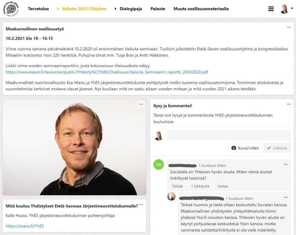 Howspace-näkymä, jossa näkyy esimerkkejä Vaikuta 2021! -päivän materiaaleista, paneelin vetäjän Kalle Husson kuva sekä esimerkki chattiruudusta, jossa osallistujat voivat kysyä ja kommentoida.